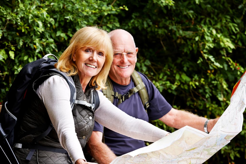 couple with trail map