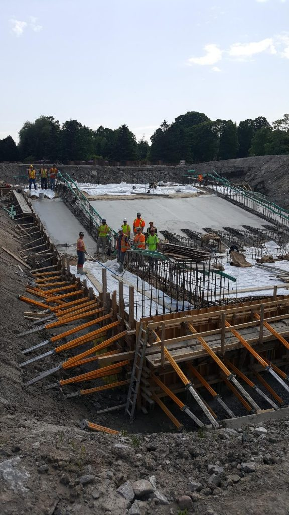 pouring of the concrete for the new spillway
